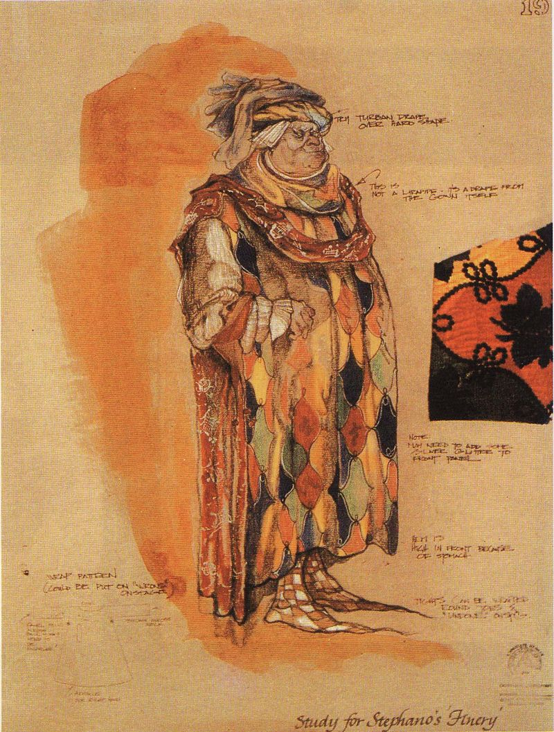 Harlequin costume sketch carrie robbins